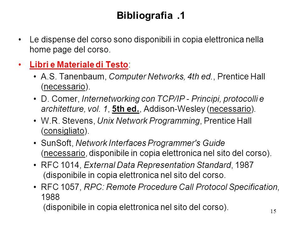 15 Bibliografia.1 Le dispense del corso sono disponibili in copia elettronica nella home page del corso. Libri e Materiale di Testo: A.S. Tanenbaum, C