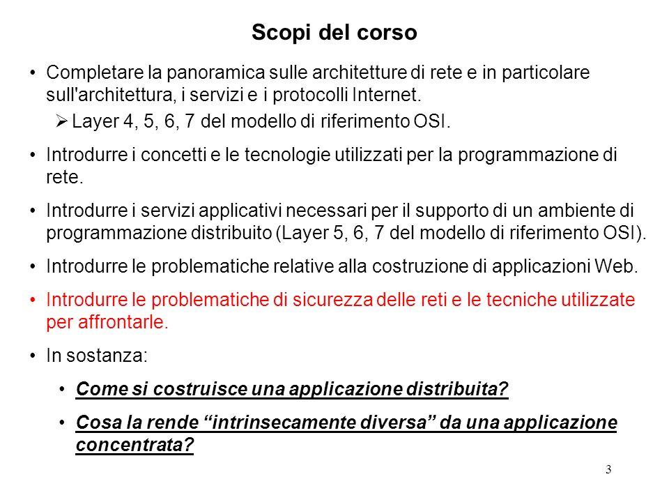 3 Scopi del corso Completare la panoramica sulle architetture di rete e in particolare sull'architettura, i servizi e i protocolli Internet. Layer 4,