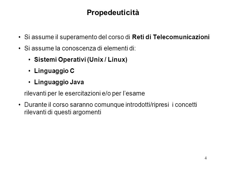 4 Propedeuticità Si assume il superamento del corso di Reti di Telecomunicazioni Si assume la conoscenza di elementi di: Sistemi Operativi (Unix / Lin