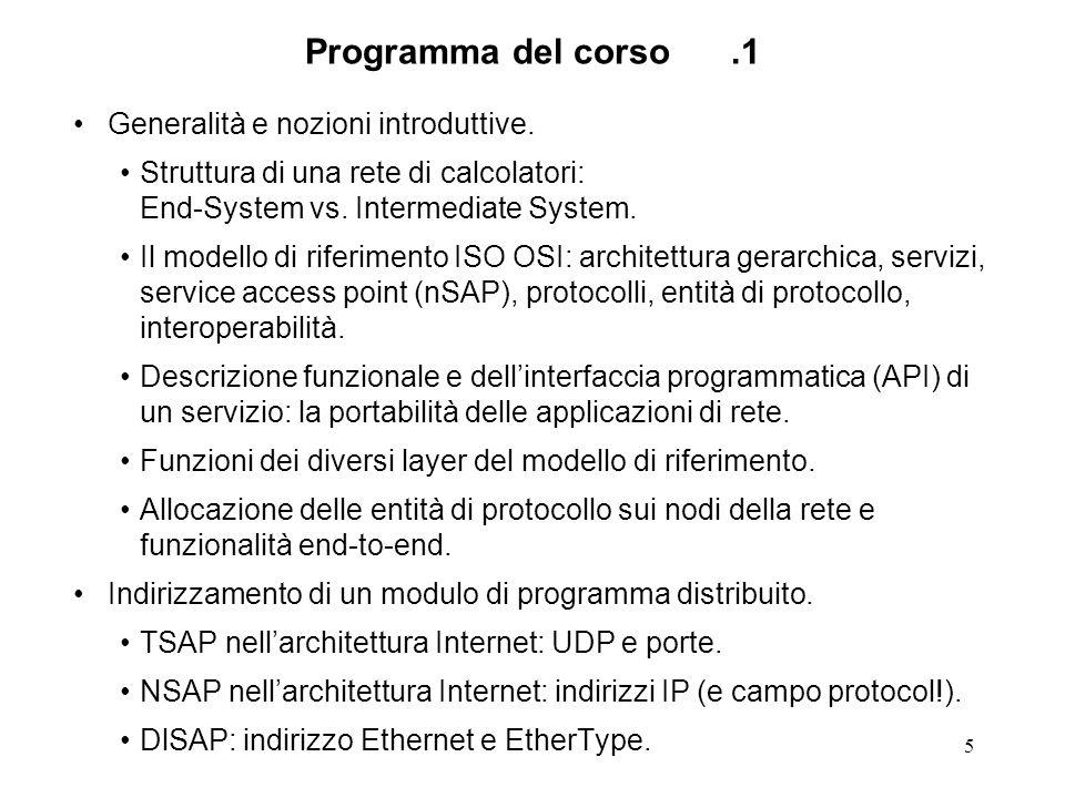 5 Programma del corso.1 Generalità e nozioni introduttive. Struttura di una rete di calcolatori: End-System vs. Intermediate System. Il modello di rif