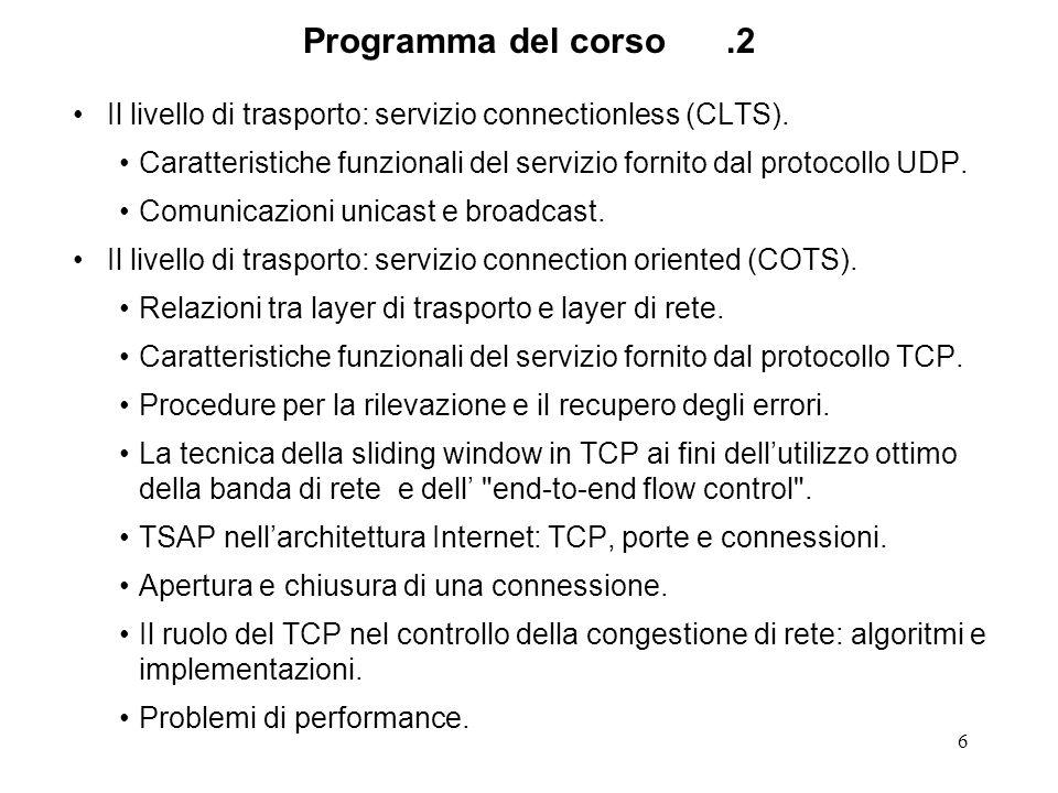 6 Programma del corso.2 Il livello di trasporto: servizio connectionless (CLTS). Caratteristiche funzionali del servizio fornito dal protocollo UDP. C
