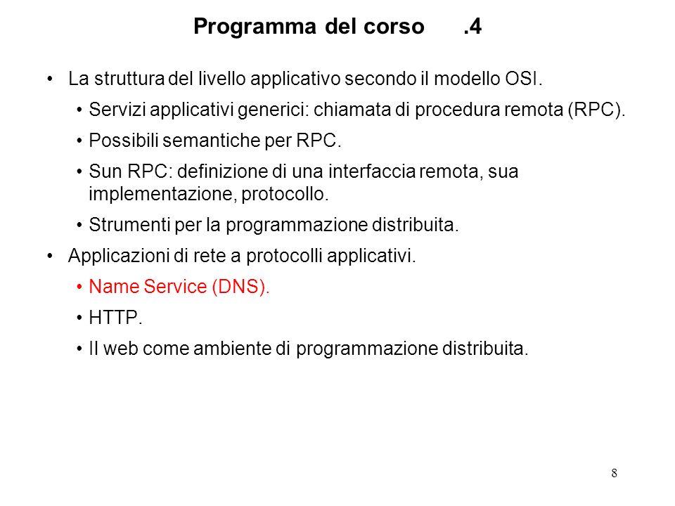 8 Programma del corso.4 La struttura del livello applicativo secondo il modello OSI. Servizi applicativi generici: chiamata di procedura remota (RPC).