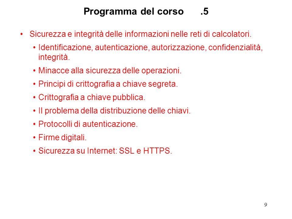 9 Programma del corso.5 Sicurezza e integrità delle informazioni nelle reti di calcolatori. Identificazione, autenticazione, autorizzazione, confidenz