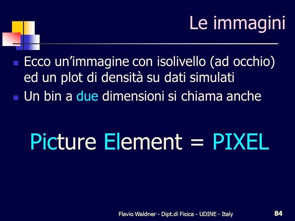 Flavio Waldner - Dipt.di Fisica - UDINE - Italy 84 Le immagini Ecco unimmagine con isolivello (ad occhio) ed un plot di densità su dati simulati Un bi