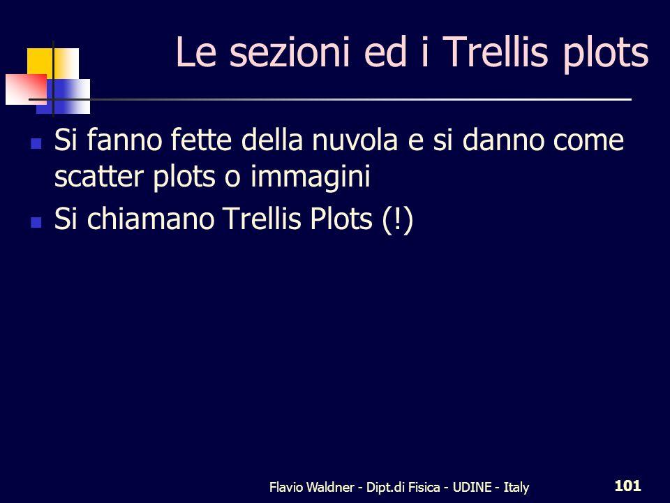 Flavio Waldner - Dipt.di Fisica - UDINE - Italy 101 Le sezioni ed i Trellis plots Si fanno fette della nuvola e si danno come scatter plots o immagini