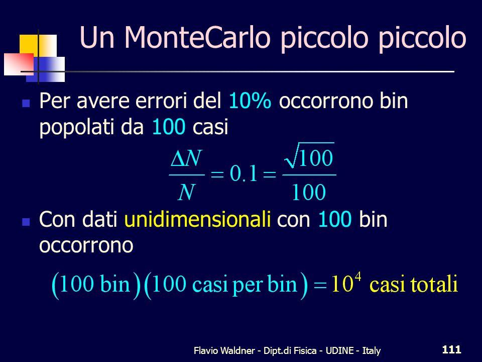 Flavio Waldner - Dipt.di Fisica - UDINE - Italy 111 Un MonteCarlo piccolo piccolo Per avere errori del 10% occorrono bin popolati da 100 casi Con dati