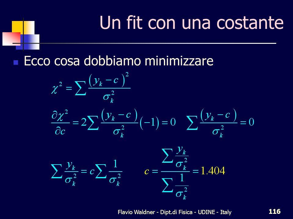 Flavio Waldner - Dipt.di Fisica - UDINE - Italy 116 Un fit con una costante Ecco cosa dobbiamo minimizzare