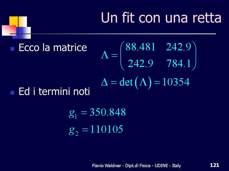 Flavio Waldner - Dipt.di Fisica - UDINE - Italy 121 Un fit con una retta Ecco la matrice Ed i termini noti