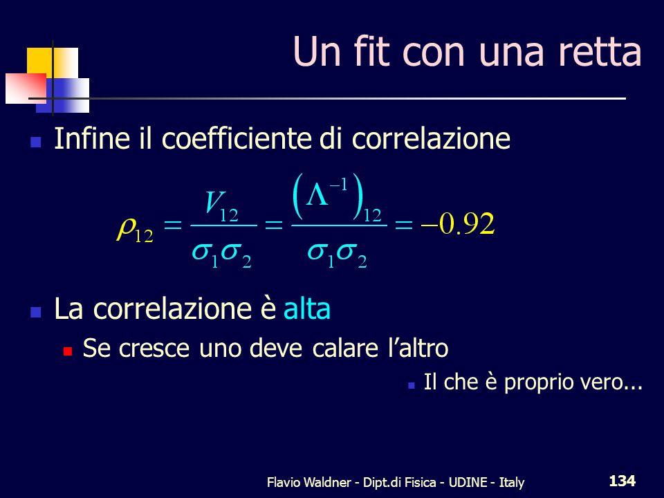 Flavio Waldner - Dipt.di Fisica - UDINE - Italy 134 Un fit con una retta Infine il coefficiente di correlazione La correlazione è alta Se cresce uno d