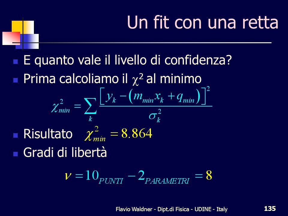 Flavio Waldner - Dipt.di Fisica - UDINE - Italy 135 Un fit con una retta E quanto vale il livello di confidenza? Prima calcoliamo il 2 al minimo Risul