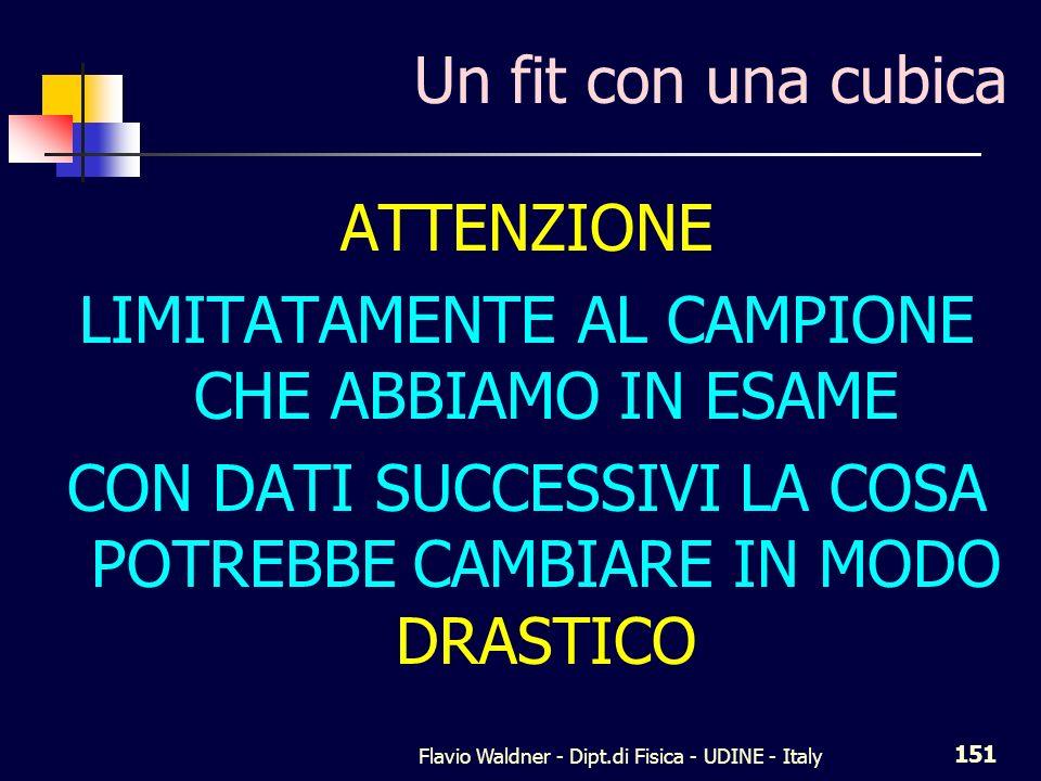 Flavio Waldner - Dipt.di Fisica - UDINE - Italy 151 Un fit con una cubica ATTENZIONE LIMITATAMENTE AL CAMPIONE CHE ABBIAMO IN ESAME CON DATI SUCCESSIV