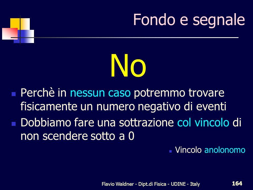 Flavio Waldner - Dipt.di Fisica - UDINE - Italy 164 Fondo e segnale No Perchè in nessun caso potremmo trovare fisicamente un numero negativo di eventi