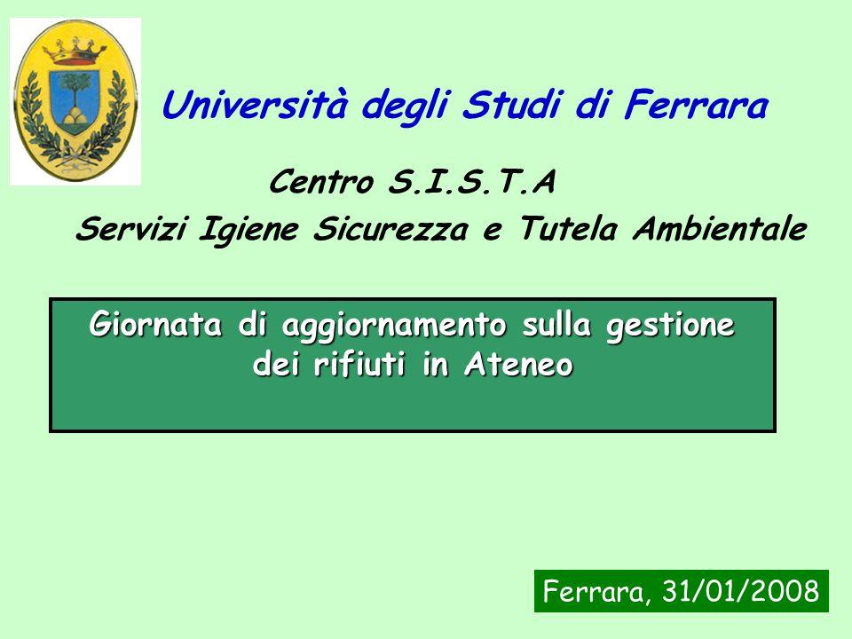 Servizi Igiene Sicurezza e Tutela Ambientale Centro S.I.S.T.A Università degli Studi di Ferrara Giornata di aggiornamento sulla gestione dei rifiuti i