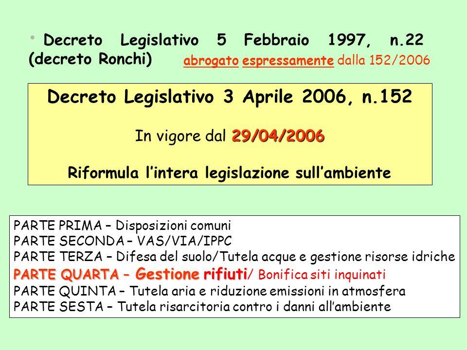 Decreto Legislativo 5 Febbraio 1997, n.22 (decreto Ronchi) Decreto Legislativo 3 Aprile 2006, n.152 29/04/2006 In vigore dal 29/04/2006 Riformula lint