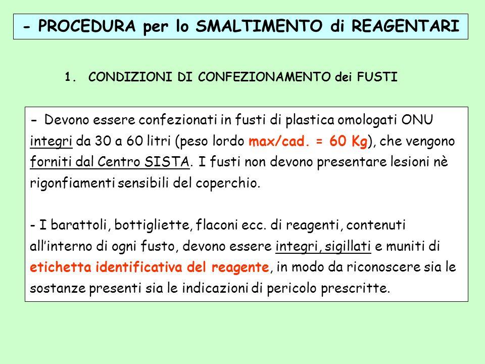 - PROCEDURA per lo SMALTIMENTO di REAGENTARI 1.CONDIZIONI DI CONFEZIONAMENTO dei FUSTI - Devono essere confezionati in fusti di plastica omologati ONU