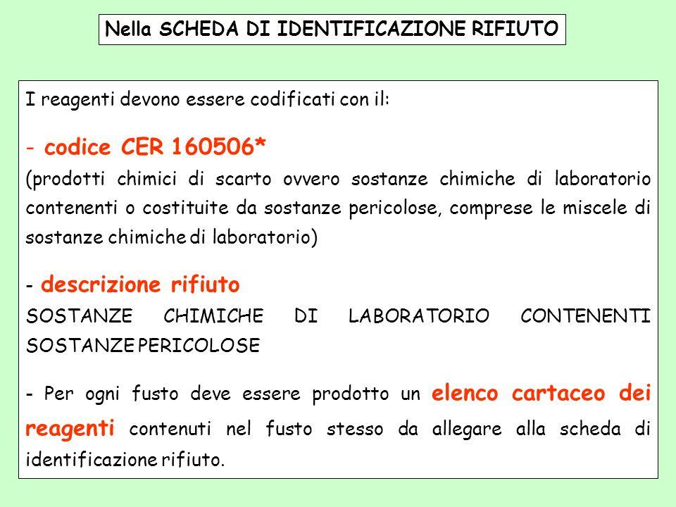 Nella SCHEDA DI IDENTIFICAZIONE RIFIUTO I reagenti devono essere codificati con il: - codice CER 160506* (prodotti chimici di scarto ovvero sostanze c