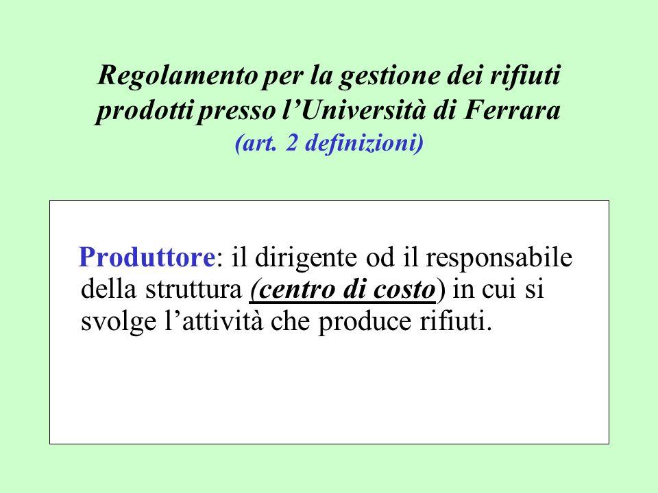 Produttore: il dirigente od il responsabile della struttura (centro di costo) in cui si svolge lattività che produce rifiuti. Regolamento per la gesti