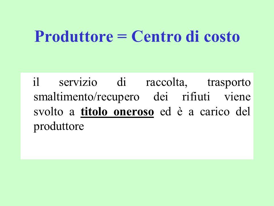 Produttore = Centro di costo il servizio di raccolta, trasporto smaltimento/recupero dei rifiuti viene svolto a titolo oneroso ed è a carico del produ