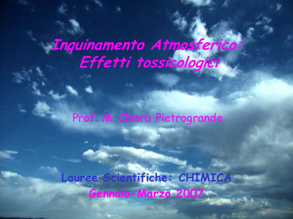 Inquinamento Atmosferico: Effetti tossicologici Prof. M. Chiara Pietrogrande Lauree Scientifiche: CHIMICA Gennaio-Marzo 2007