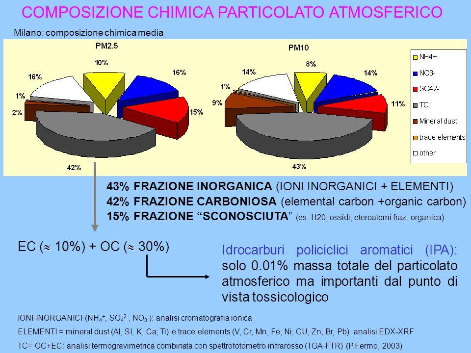 COMPOSIZIONE CHIMICA PARTICOLATO ATMOSFERICO Milano: composizione chimica media 43% FRAZIONE INORGANICA (IONI INORGANICI + ELEMENTI) 42% FRAZIONE CARB