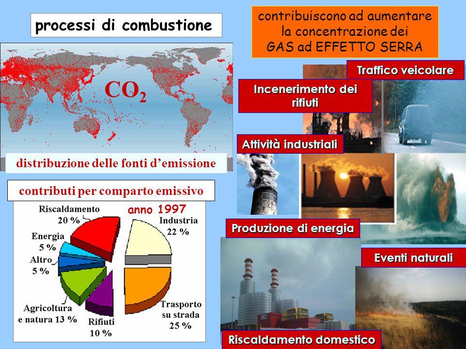 distribuzione delle fonti demissione contribuiscono ad aumentare la concentrazione dei GAS ad EFFETTO SERRA CO 2 processi di combustione contributi pe