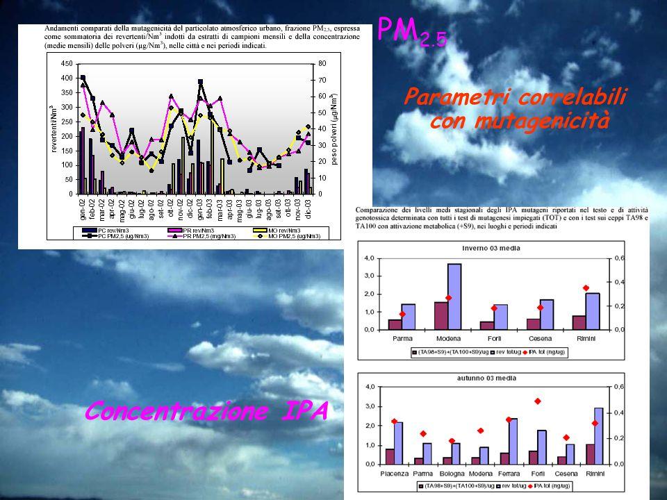 Parametri correlabili con mutagenicità PM 2.5 Concentrazione IPA