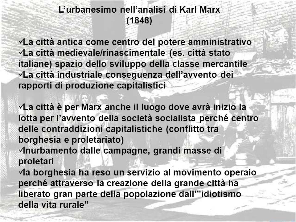 Lurbanesimo nellanalisi di Karl Marx (1848) La città antica come centro del potere amministrativo La città medievale/rinascimentale (es. città stato i