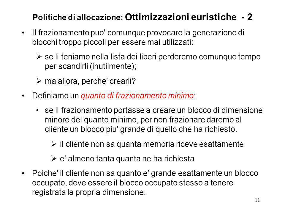 11 Politiche di allocazione: Ottimizzazioni euristiche - 2 Il frazionamento puo' comunque provocare la generazione di blocchi troppo piccoli per esser