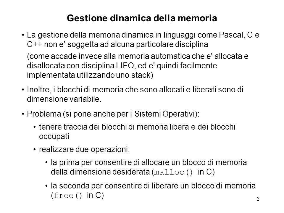 3 Gestione dinamica della memoria: lista dei blocchi liberi Per tenere traccia dei blocchi di memoria libera si potrebbe pensare di utilizzare una lista ogni blocco libero riferisce il prossimo blocco libero della lista.