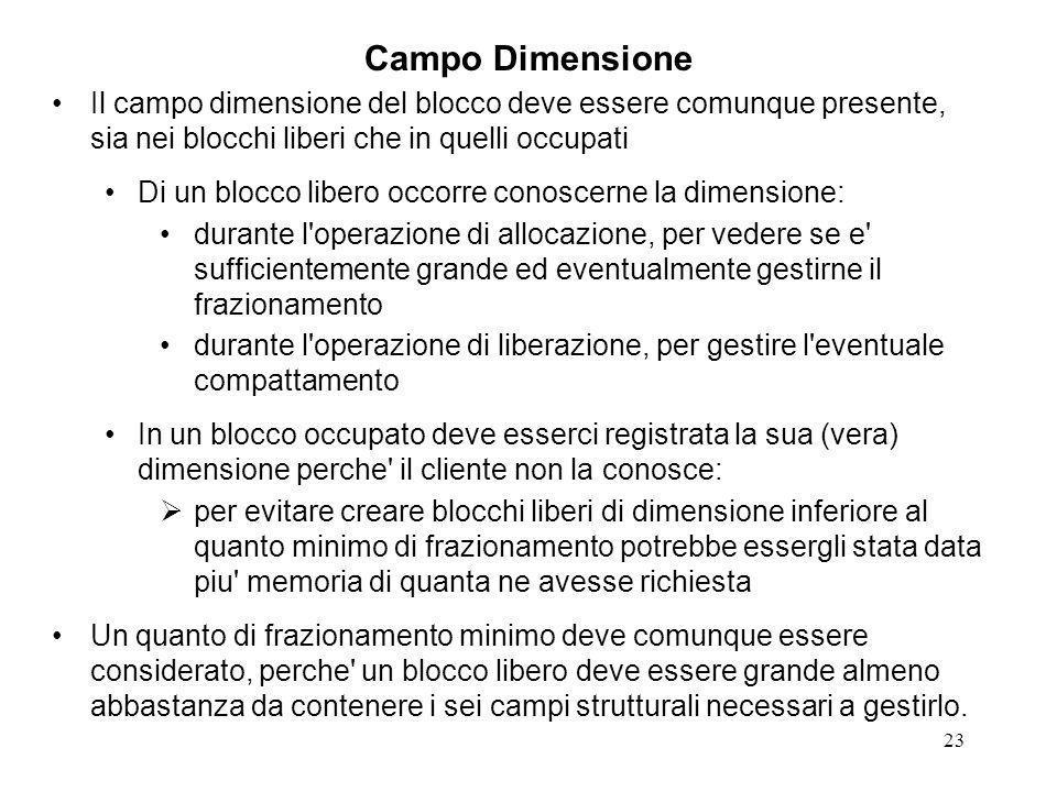 23 Campo Dimensione Il campo dimensione del blocco deve essere comunque presente, sia nei blocchi liberi che in quelli occupati Di un blocco libero oc