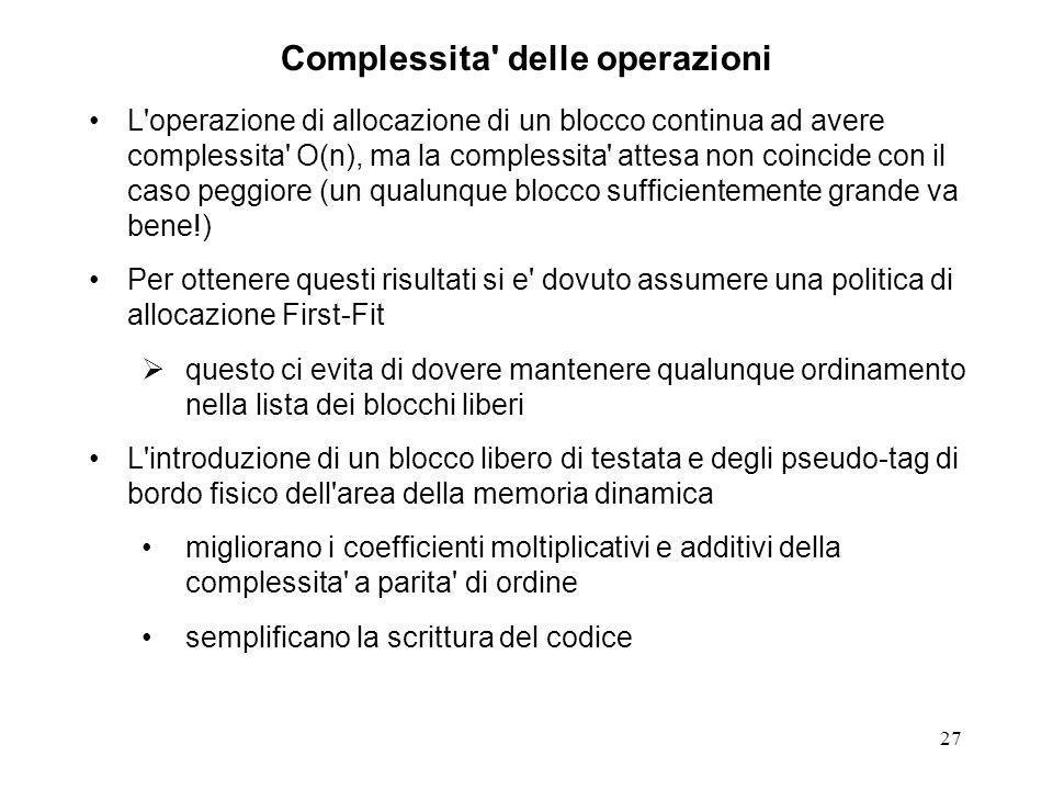 27 Complessita' delle operazioni L'operazione di allocazione di un blocco continua ad avere complessita' O(n), ma la complessita' attesa non coincide