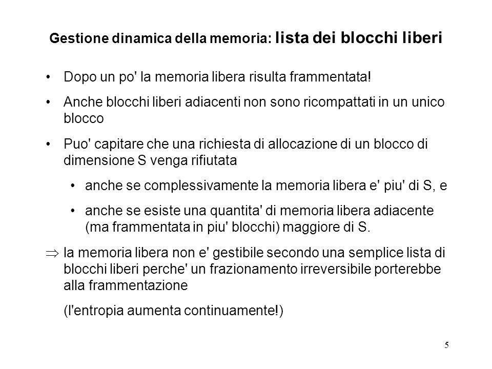 5 Gestione dinamica della memoria: lista dei blocchi liberi Dopo un po' la memoria libera risulta frammentata! Anche blocchi liberi adiacenti non sono