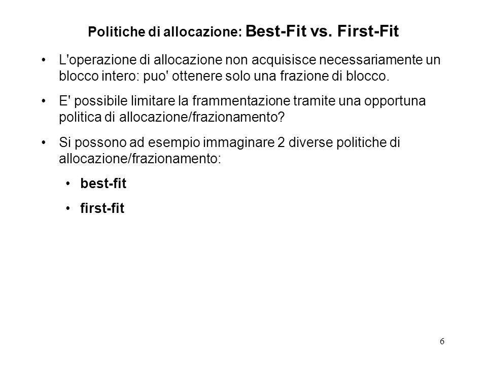 6 Politiche di allocazione: Best-Fit vs. First-Fit L'operazione di allocazione non acquisisce necessariamente un blocco intero: puo' ottenere solo una