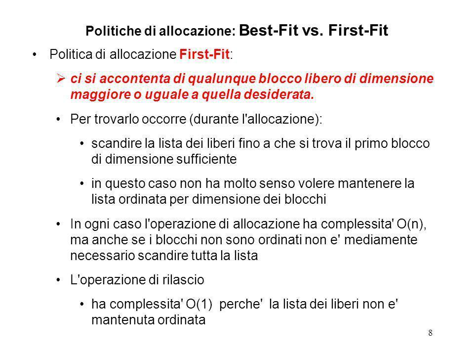 8 Politiche di allocazione: Best-Fit vs. First-Fit Politica di allocazione First-Fit: ci si accontenta di qualunque blocco libero di dimensione maggio