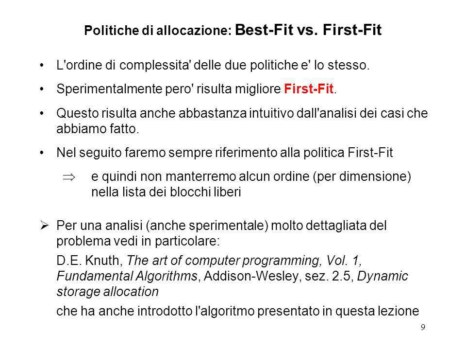 9 Politiche di allocazione: Best-Fit vs. First-Fit L'ordine di complessita' delle due politiche e' lo stesso. Sperimentalmente pero' risulta migliore