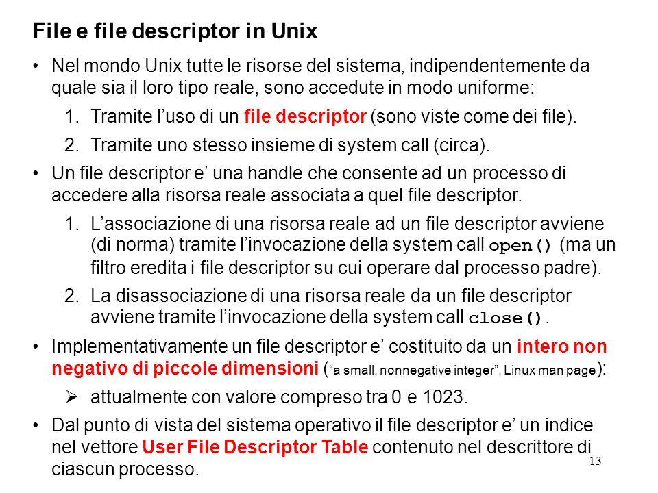 13 File e file descriptor in Unix Nel mondo Unix tutte le risorse del sistema, indipendentemente da quale sia il loro tipo reale, sono accedute in mod