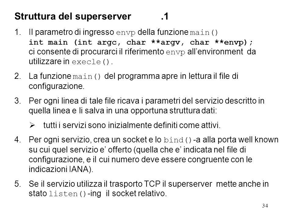 34 Struttura del superserver.1 1.Il parametro di ingresso envp della funzione main() int main (int argc, char **argv, char **envp); ci consente di pro