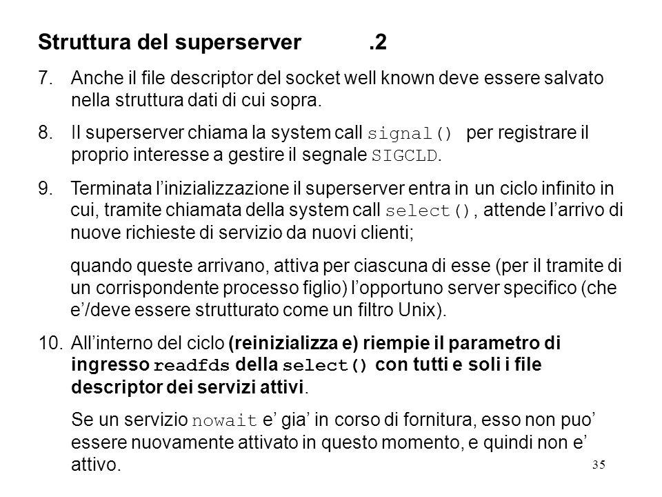 35 Struttura del superserver.2 7.Anche il file descriptor del socket well known deve essere salvato nella struttura dati di cui sopra. 8.Il superserve