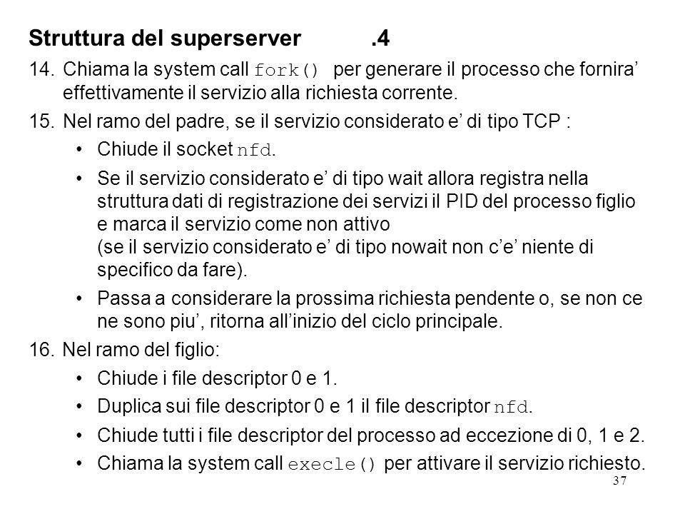 37 Struttura del superserver.4 14.Chiama la system call fork() per generare il processo che fornira effettivamente il servizio alla richiesta corrente