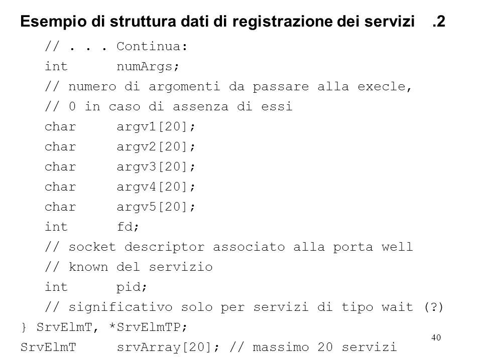 40 Esempio di struttura dati di registrazione dei servizi.2 //... Continua: intnumArgs; // numero di argomenti da passare alla execle, // 0 in caso di