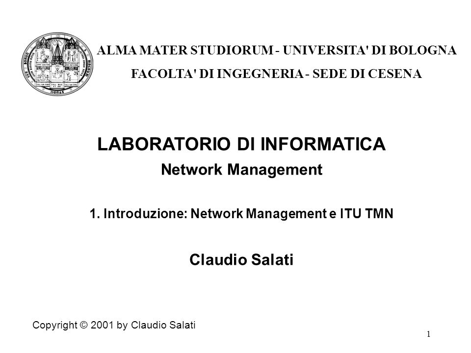 1 LABORATORIO DI INFORMATICA Network Management 1.