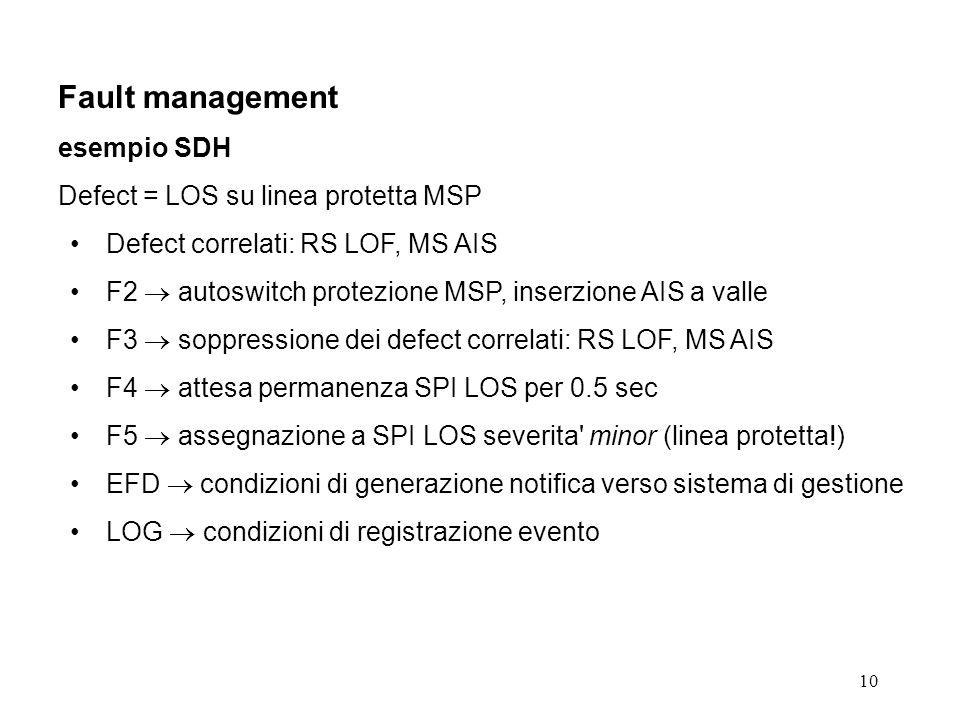10 Fault management esempio SDH Defect = LOS su linea protetta MSP Defect correlati: RS LOF, MS AIS F2 autoswitch protezione MSP, inserzione AIS a valle F3 soppressione dei defect correlati: RS LOF, MS AIS F4 attesa permanenza SPI LOS per 0.5 sec F5 assegnazione a SPI LOS severita minor (linea protetta!) EFD condizioni di generazione notifica verso sistema di gestione LOG condizioni di registrazione evento