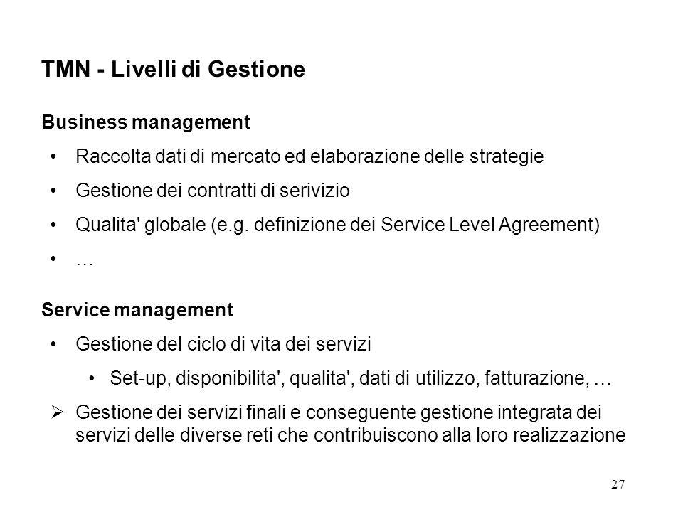 27 TMN - Livelli di Gestione Business management Raccolta dati di mercato ed elaborazione delle strategie Gestione dei contratti di serivizio Qualita globale (e.g.
