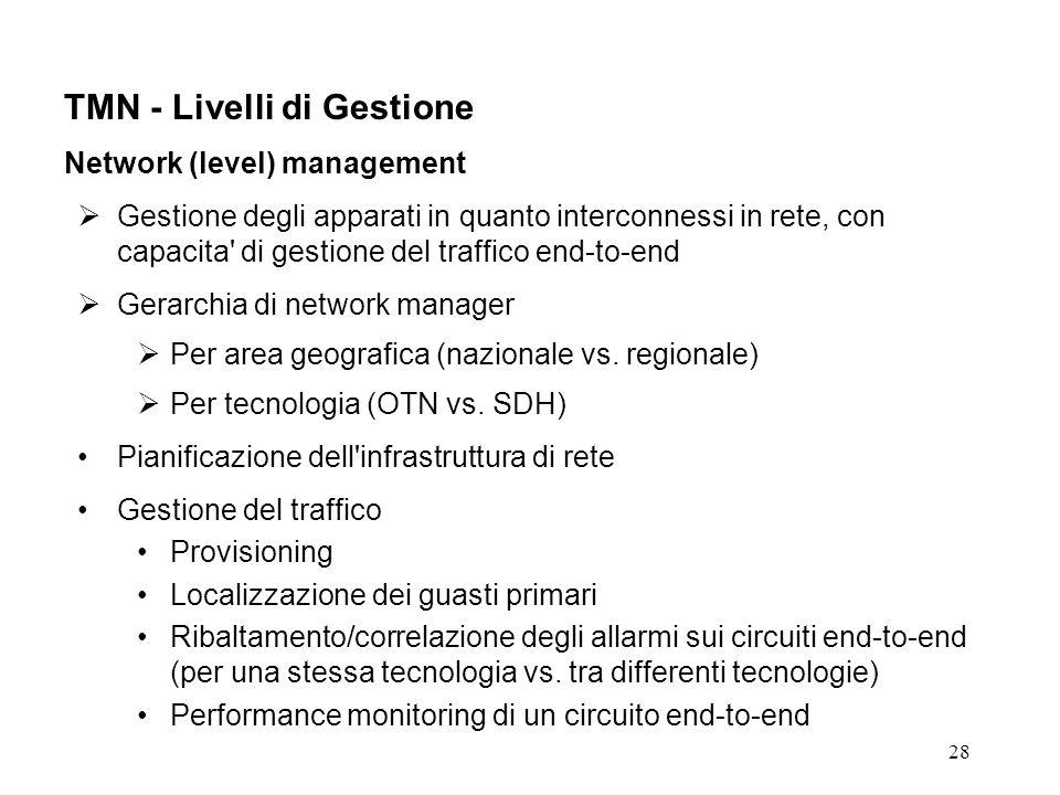 28 TMN - Livelli di Gestione Network (level) management Gestione degli apparati in quanto interconnessi in rete, con capacita di gestione del traffico end-to-end Gerarchia di network manager Per area geografica (nazionale vs.