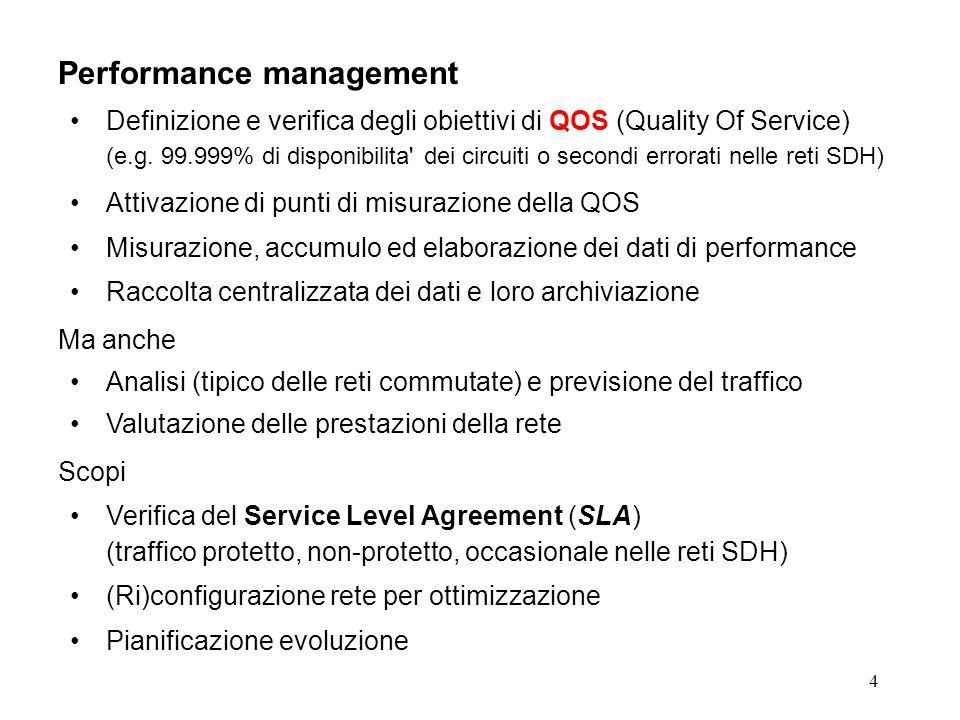 4 Performance management Definizione e verifica degli obiettivi di QOS (Quality Of Service) (e.g.