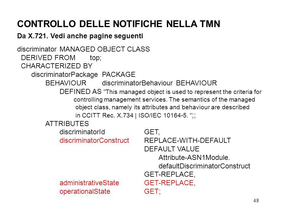 48 CONTROLLO DELLE NOTIFICHE NELLA TMN Da X.721.