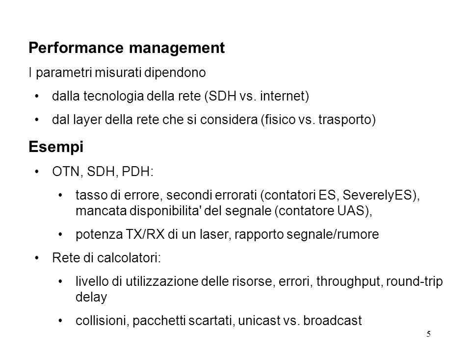 5 Performance management I parametri misurati dipendono dalla tecnologia della rete (SDH vs.