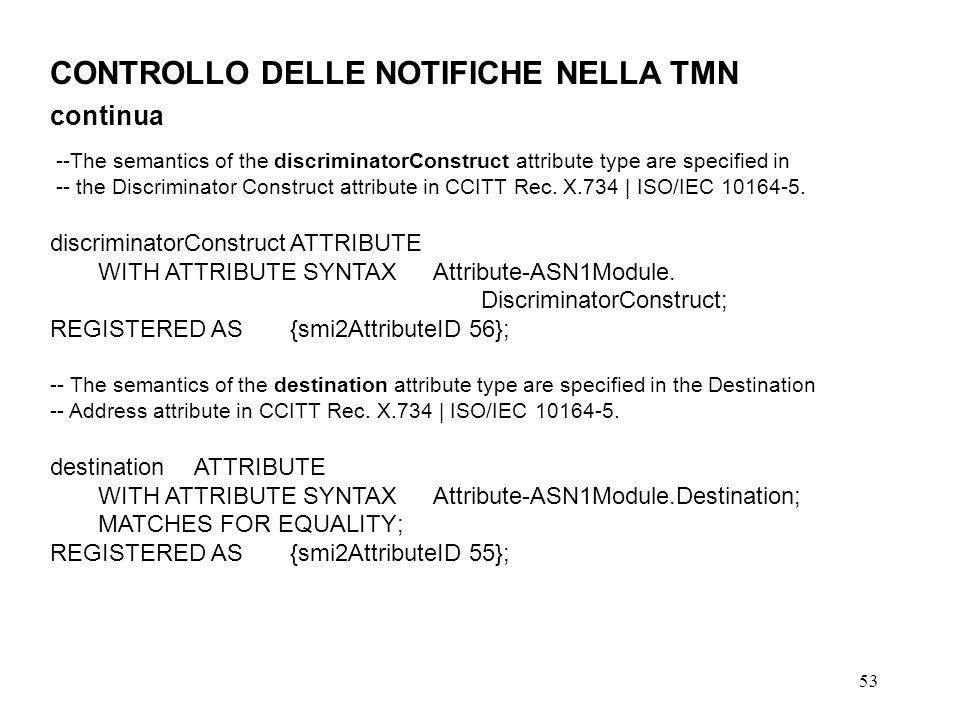 53 CONTROLLO DELLE NOTIFICHE NELLA TMN continua --The semantics of the discriminatorConstruct attribute type are specified in -- the Discriminator Construct attribute in CCITT Rec.