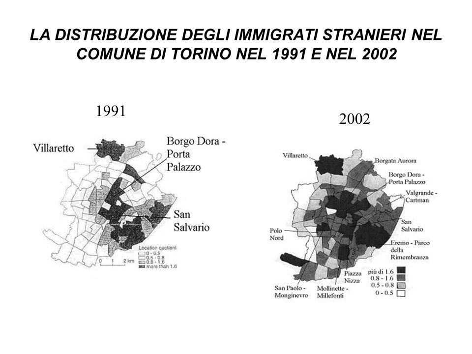 LA DISTRIBUZIONE DEGLI IMMIGRATI STRANIERI NEL COMUNE DI TORINO NEL 1991 E NEL 2002 1991 2002