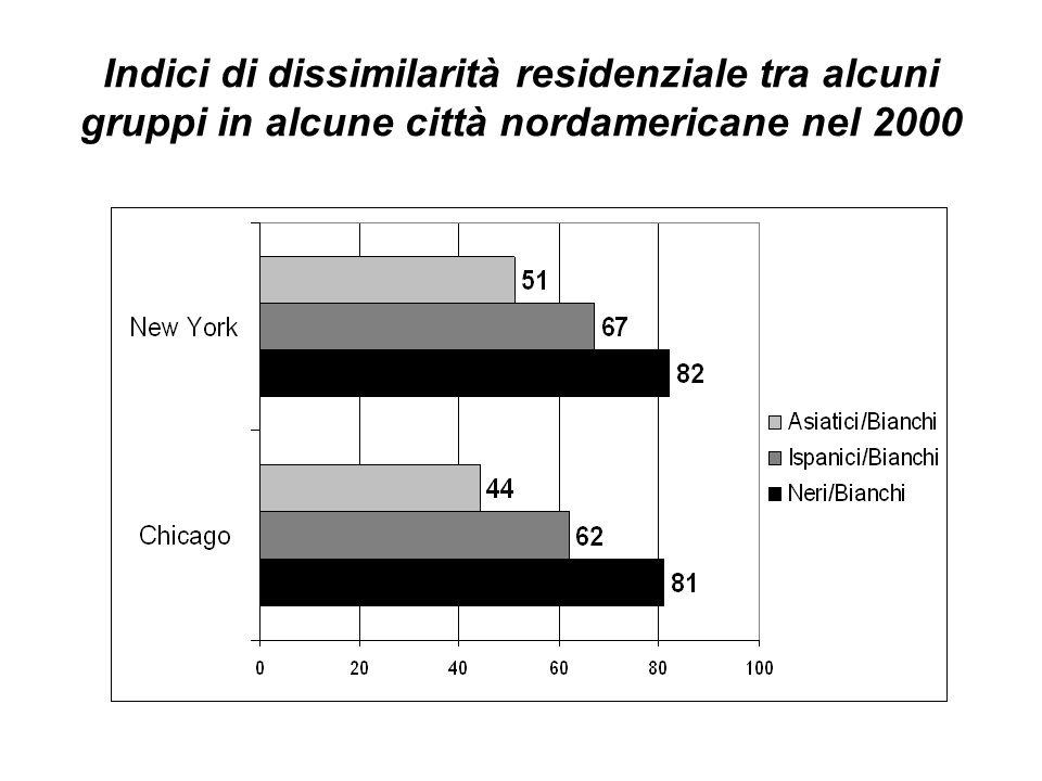 Indici di dissimilarità residenziale tra alcuni gruppi in alcune città nordamericane nel 2000